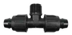 Тройник с накидн. гайками для капельных линий,  Irritec 16 х 3/4НР х 16 мм